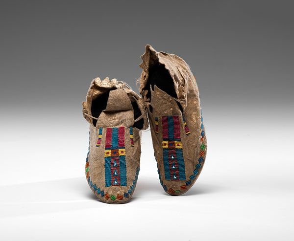 Cheyenne Beaded Hide Moccasins with Parfleche Soles (9/26/2014 American Indian: Live Salesroom Auction)