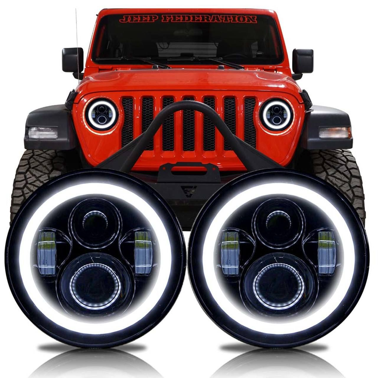 Halo Projector Black Led Headlights For Wrangler Jl Gladiator
