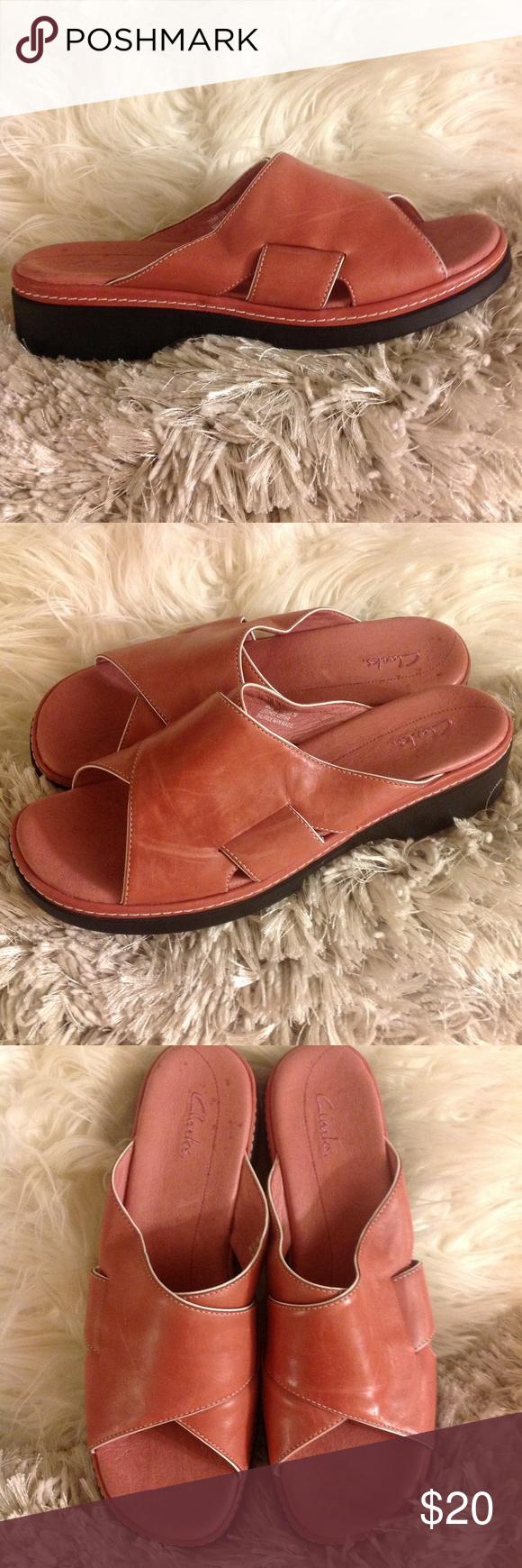 Clarks Rose Pink Leather Slip On Comfort Sandal 11 Clarks