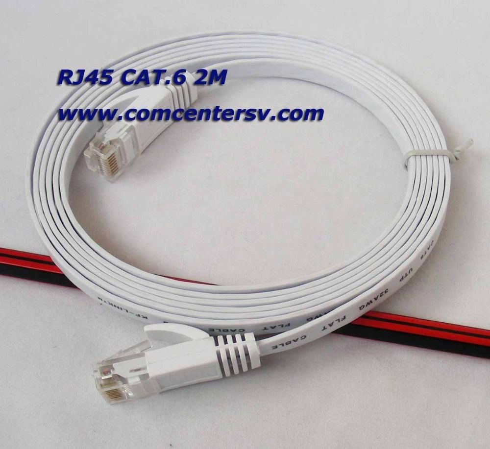2m Ethernet Cable Cat6 white RJ45 6ft Ultra-Thin Flat Patch Network ...