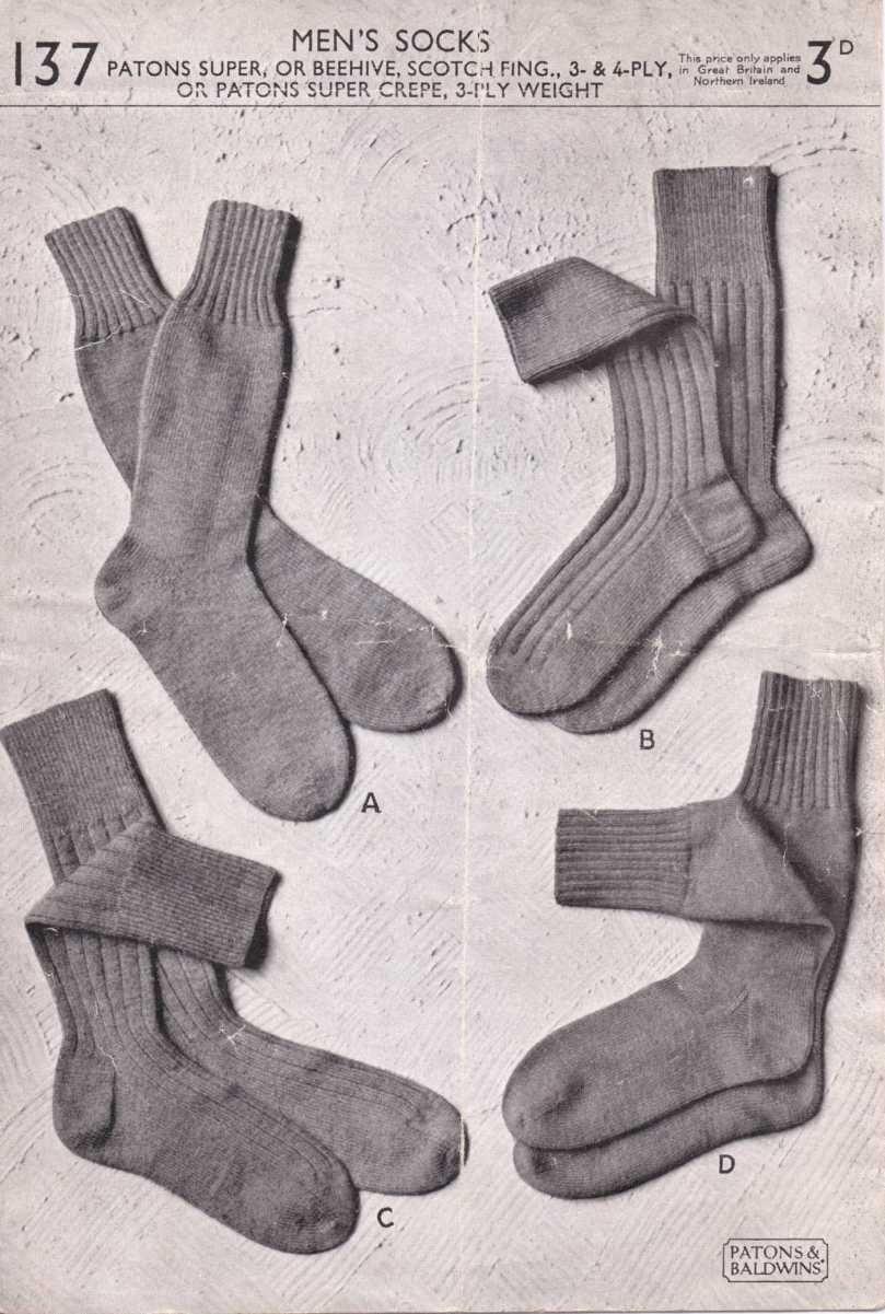 Patons & Baldwins 1950s men\'s socks, free vintage knitting pattern ...