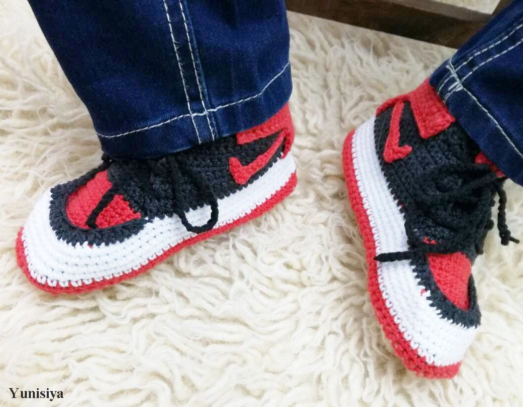 86005440d40aa2 Kids Slippers Toddler Footwear House Crocheted slippers Nike Air jordan  Knitted shoes Slippers Kids Slippers Air Jordan Toddler 2BB103-C8 by  Yunisiya on ...
