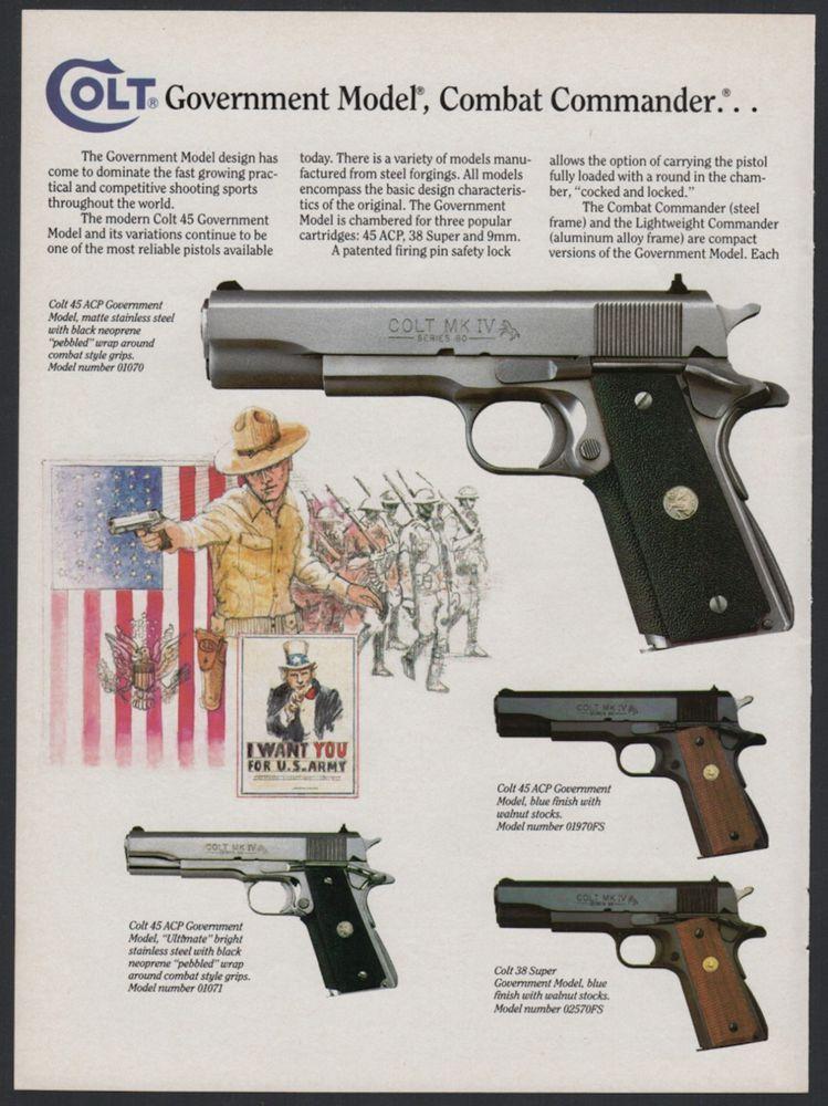 1990 colt government model 45 acp combat commander pistol print ad rh pinterest com