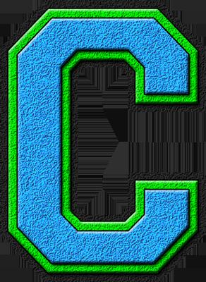 Presentation Alphabets Light Blue Kelly Green Varsity Letter C Varsity Letter Lettering Letter G
