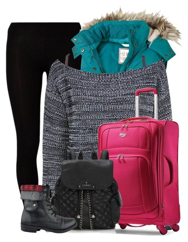 """Ski trip."" by rebekah3383 ❤ liked on Polyvore featuring Majestic, Fat Face, Charlotte Russe, Boohoo, American Tourister and Lipsy"