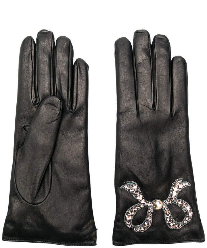 774e0a48f6b Gucci Leather Gloves With Bow