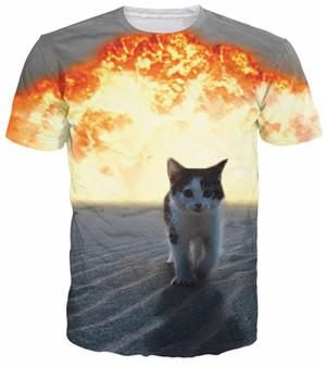 f11dedfc Summer style men/women Meowy Christmas galaxy space tees pizza cat t-shirt  3d t shirt camisa masculina Dropship Plus S-5XL R2335