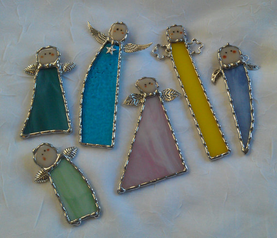 Stained Glass Angel Suncatcher Ornaments by PineTreeGlassWorks, $15.00