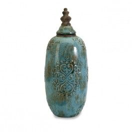 Turquoise Ceramic Lidded Jar Tall
