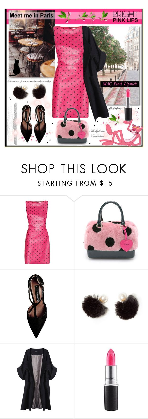 """""""Pink Panther"""" by pumsiks ❤ liked on Polyvore featuring Dauphine, Yves Saint Laurent, Furla, Steve Madden, Stella & Dot, Merci Me London, MAC Cosmetics and pinklips"""