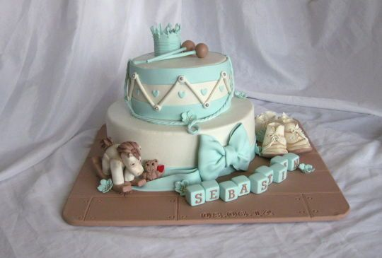 Vintage drum cake with shoes and rocing horse