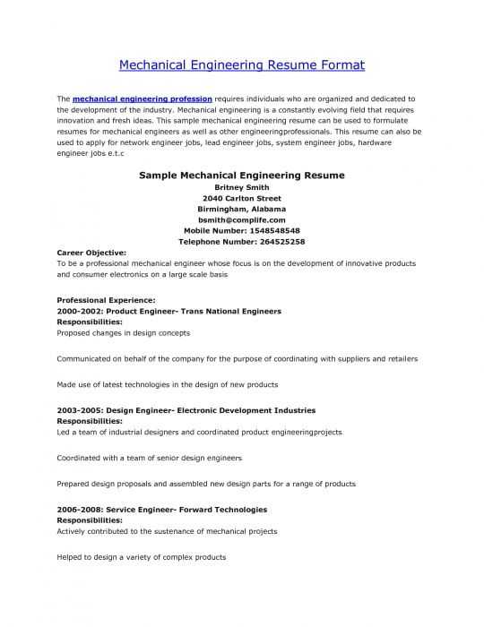 resume format mechanical engineers pdf for freshers samples with - best resume format for freshers