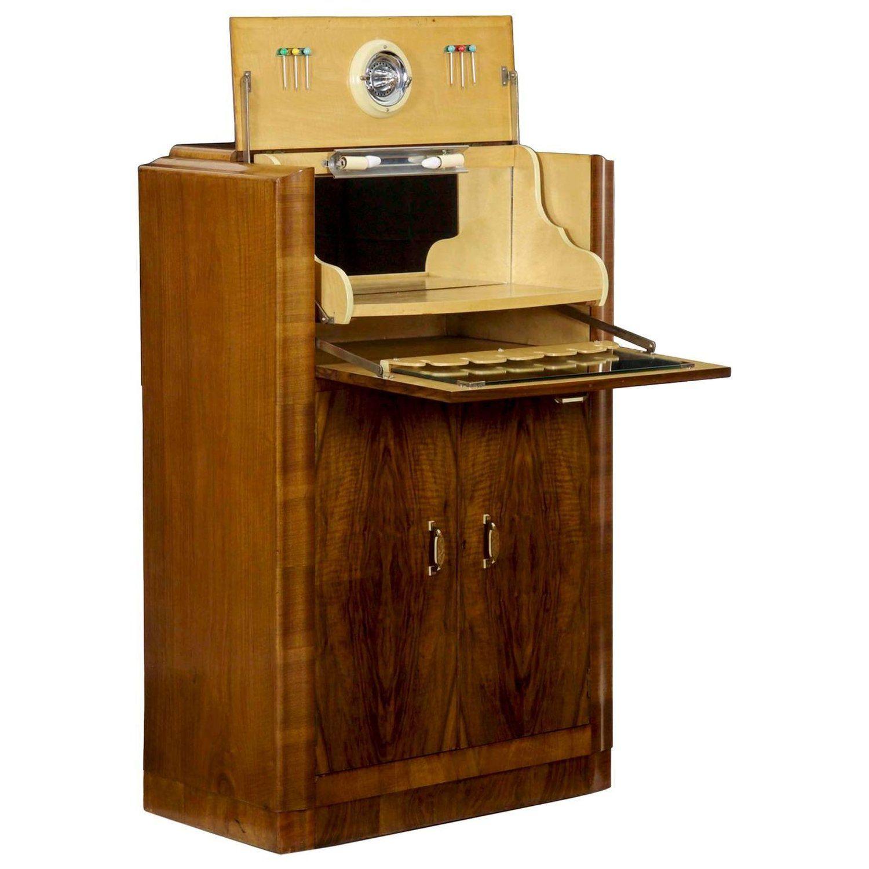 Art Deco Walnut Lighted Antique Bar Cabinet With Wine Storage Circa 1920 1940 Antique Bar Antique Bar Cabinet Wine Storage