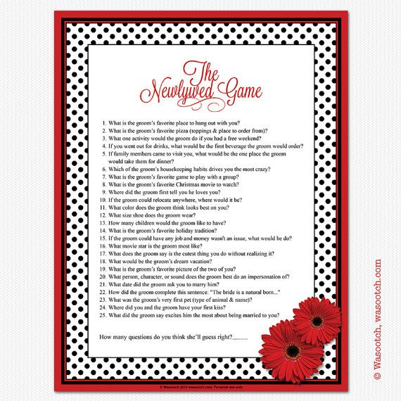 red gerbera daisy black and white polka dot bridal shower newlywed game instant downloadable by wasootch 500