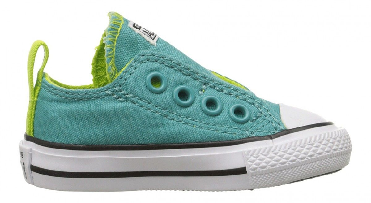 7b0be5fe2290 Converse Toddler Chuck Taylor All Star Simple Slip Canvas Low Top Aegean  Aqua Bold Lime