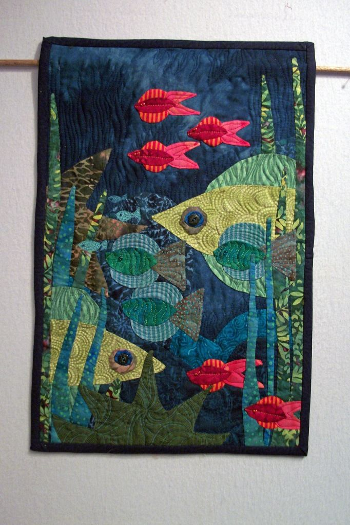 Red Fish Quilt by Louisa Enright