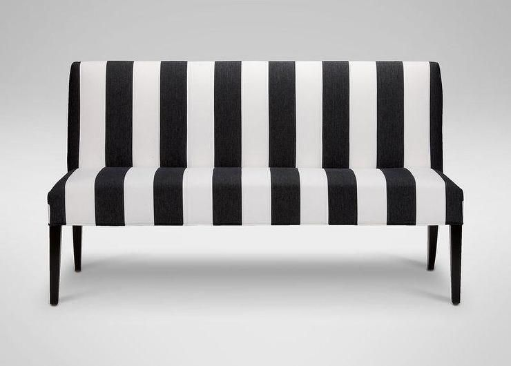 Black And White Vertical Striped Bench Ethan Allen Furniture Furniture Ottoman In Living Room
