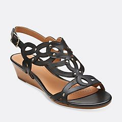 Womens Sandals Clarks Playful Tunes Black Leather
