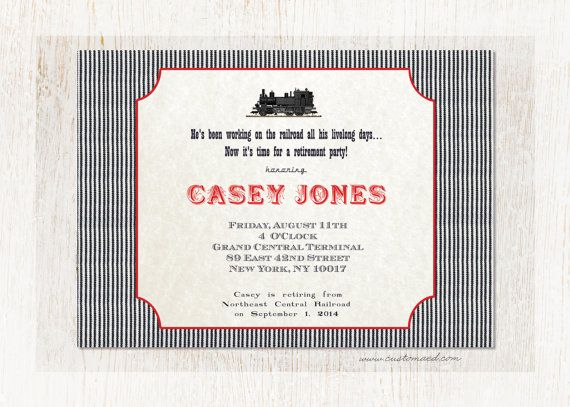 Railroad Retirement Invitation Custom Text Freight By Customaed