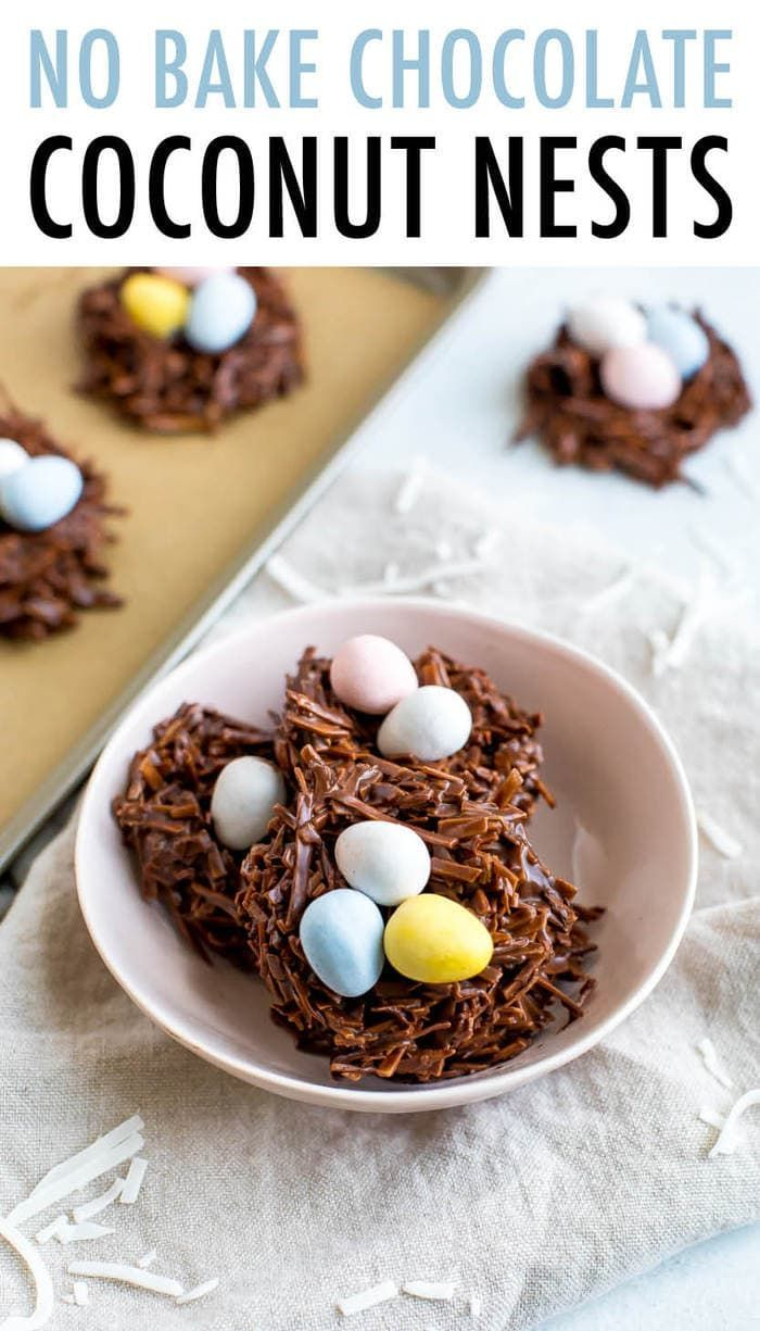 no bake chocolate coconut nests are such an easy Easter treat only require three ingredients: shredded coconut, chocolate chips and candy eggs! Vegan + gluten-free.#coconut