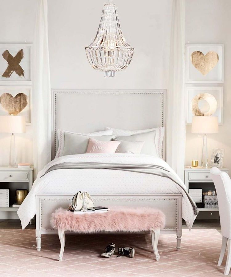 deco teen girl room chic in white pastel pink and gold - Chambre Rose Gold