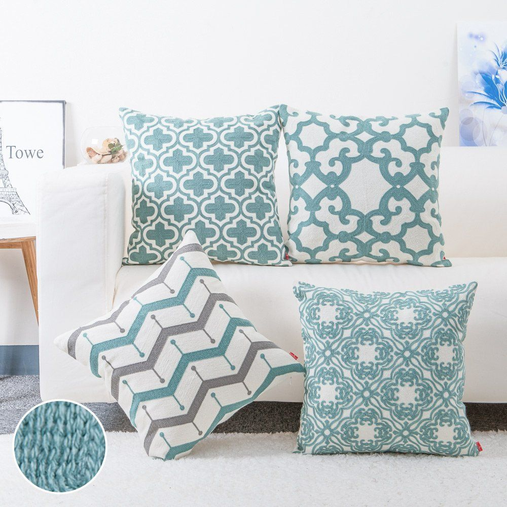 Amazon.com: baibu Cotton Teal Embroidery Pattern Decor Throw Pillow ...