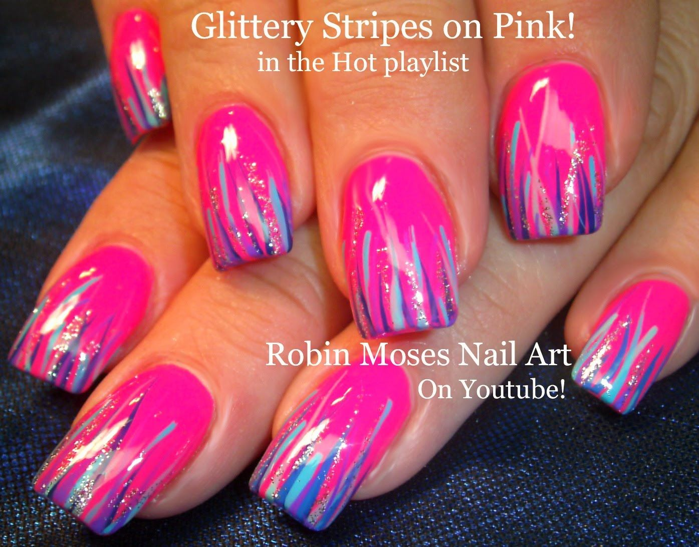 nail art! easy hot neon pink nails striped in glittery goodness