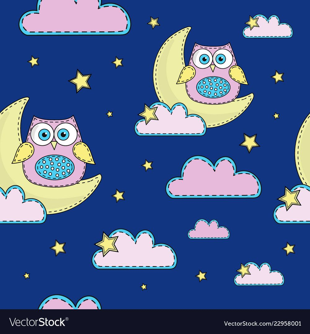 Night Owl Cartoon Seamless Pattern Color Vector Image On Vectorstock Color Vector Owl Cartoon Seamless Patterns