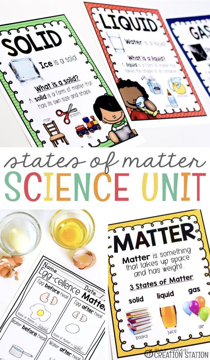Exploring matter and energy in kindergarten and first grade is so much fun! Watching little ones see the objects around them scientifically is exciting and a tad bit adorable. However, nothing beats the surprise as they see matter change before their eyes. You and your class will enjoy this States of Matter Unit. #Science #TpT #ScienceExperiments #studymatter #matter #matterunit #statesofmatter #mrsjonescreationstation