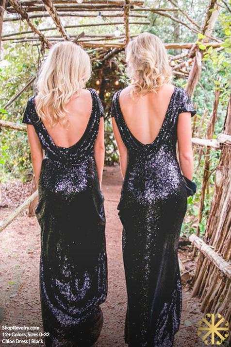 Chloe Sequin Dress Black Bridesmaid Dresses Glitter Bridesmaid