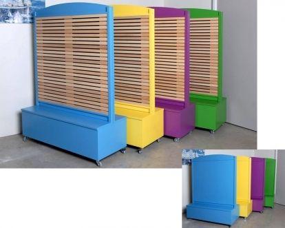ensemble bac de rangement et cloison acoustique 1 face lames en bois et 1 face pleine bateau. Black Bedroom Furniture Sets. Home Design Ideas