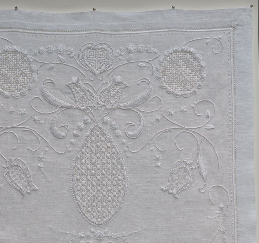 """Contemporary Whitework - """"in the Style of traditional Schwalm embroidery from the Schwalm River region in Germany. Design elements traditionally cover much of the cloth combining curvilinear and geometric forms."""""""
