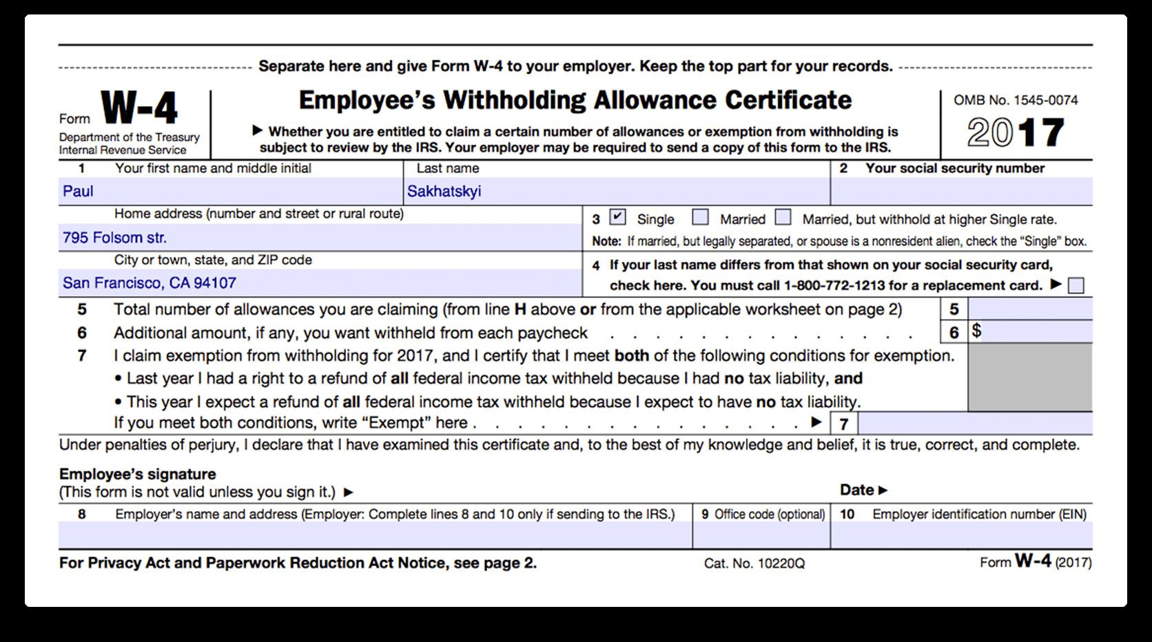 Fillable W 4 Form How To Fill Out Irs Form W 4 In