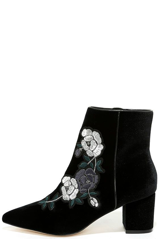 e25619ee021 Have the Steven by Steve Madden Brits Black Velvet Embroidered Booties  caught your eye  Treat yourself to these stunning black velvet booties with  a sleek ...
