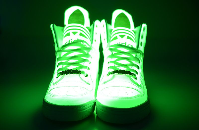 """More Adidas GLOW In The Dark Basketball Sneakers! Classic """"Big Tongue"""" style shoes."""