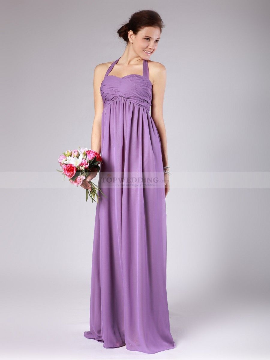 Lilac dress for wedding  Pleated Halter Empire Chiffon Bridesmaid Dress   Chiffon