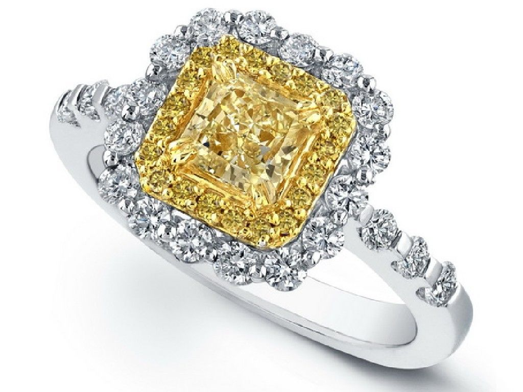 engagement and rings canary bridal yellow three ring diamond white stone