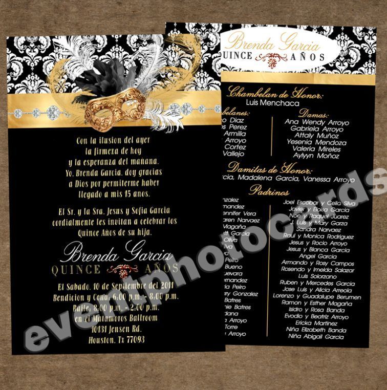 Masquerade Invitation for Sweet 16 Gold Black Masquerade