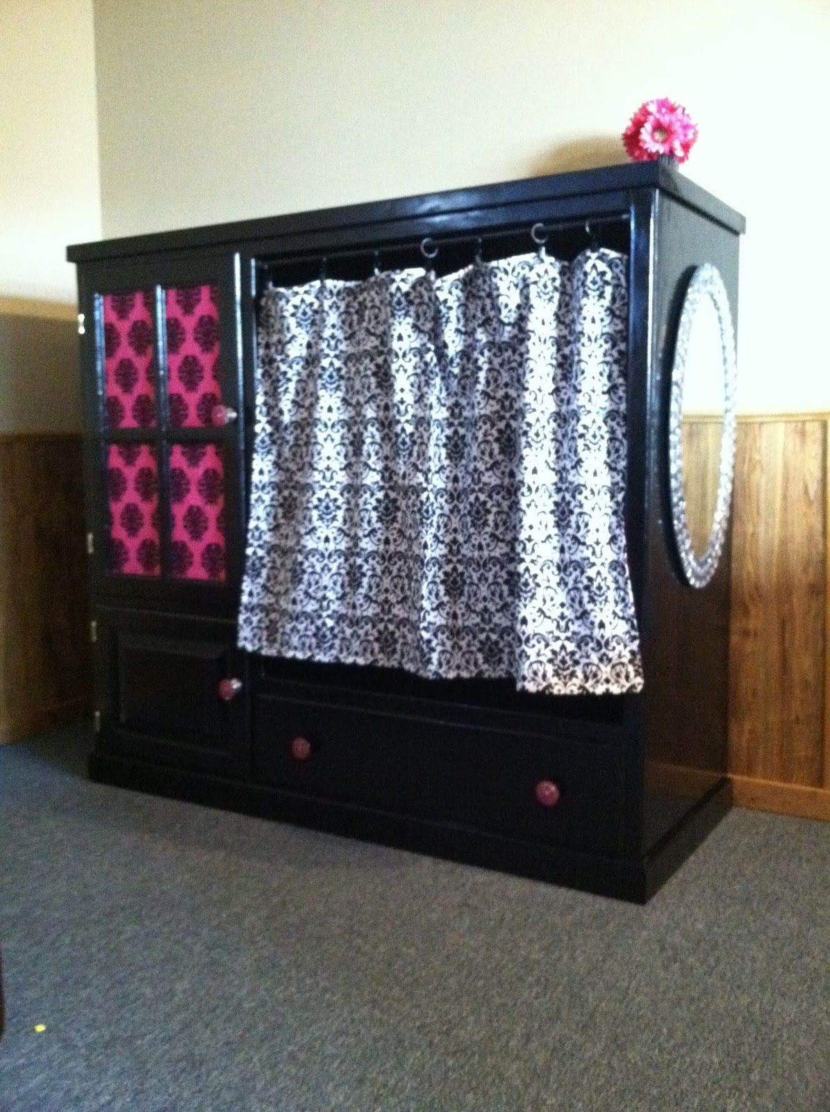 Diy Dress Up Storage My Entertainment Center Turned Into Storage For Dress Up Clothes