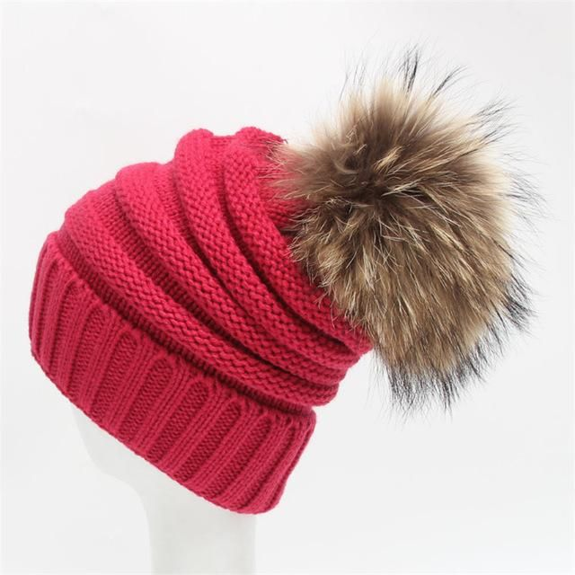 ad1a696c1f1 2017 Winter fur pompom hat for women cashmere wool cotton hat Big Real  Raccoon fur pompom Beanies cap Fox fur bobble hat