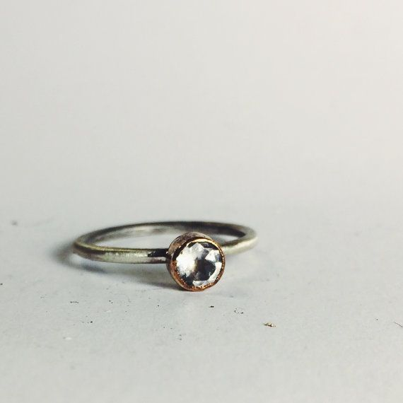 White Topaz Ring; engagement ring; wedding ring; fine jewelry; two tone ring; stacking ring; handmade ring; bohemian jewelry; silversmith