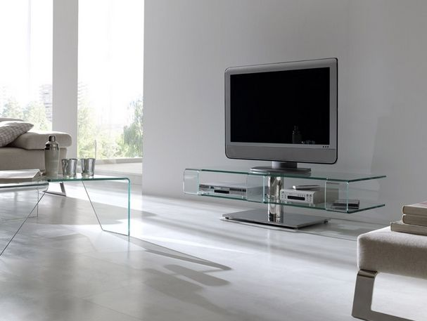 Mesa de tv de cristal mesa moderna para sal n salon for Mesa salon cristal