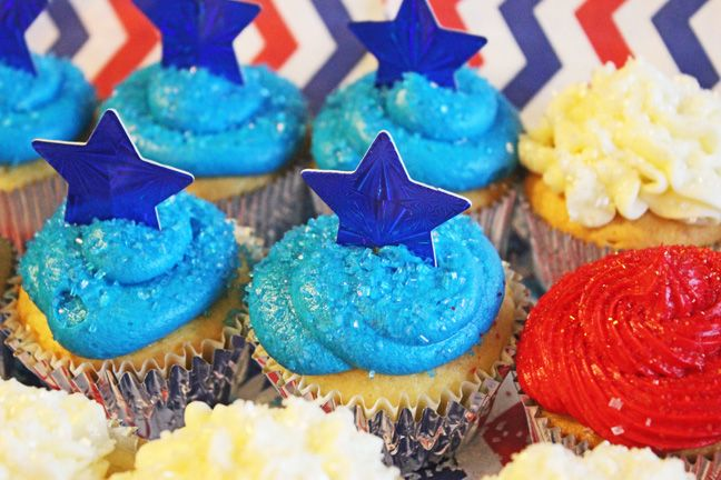 Red, White and Blue Cupcakes in a Flag Shape   Has additions to cake mix to make it better.