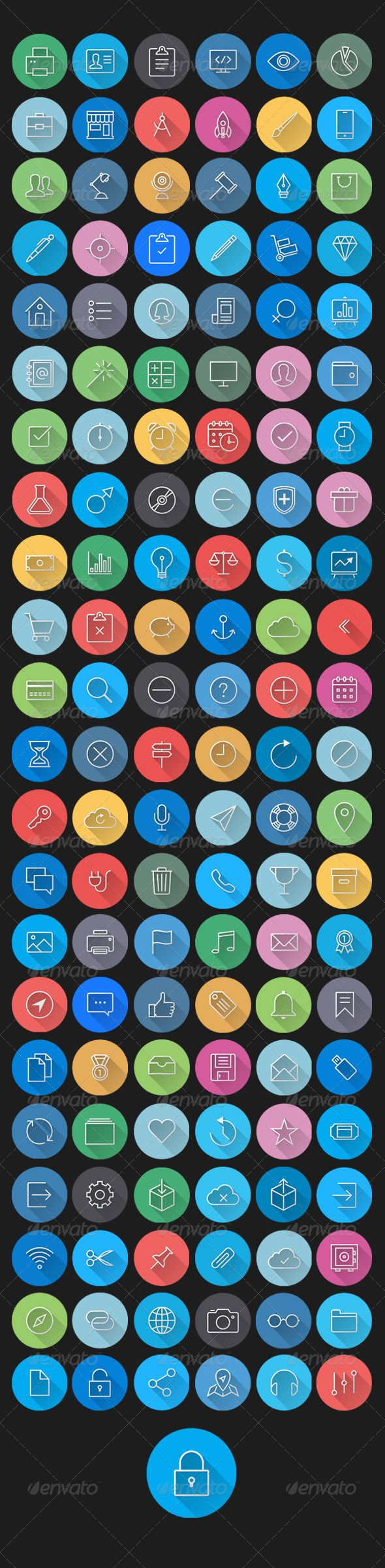 Purchase $9 This is a big bundle of 132 flat line icons styles; flat, long shadow and ios7 style thin line icons with flat style. All of icons are fully editable, change colors with one click or go any size.  Included file: 132 Colorful Flat S