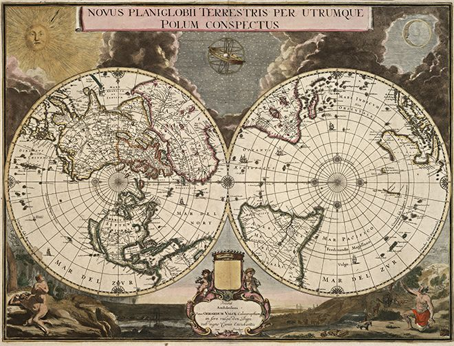 1695 old world antique map worldmap antique maps and vintage wood 1695 old world antique map gumiabroncs Gallery