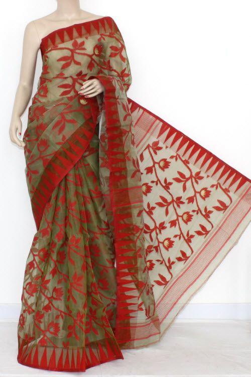 90899eaf1b Menhdi Green Red Handwoven Bengali Tant Kora Cotton Jamdani Saree (Without  Blouse) 17217