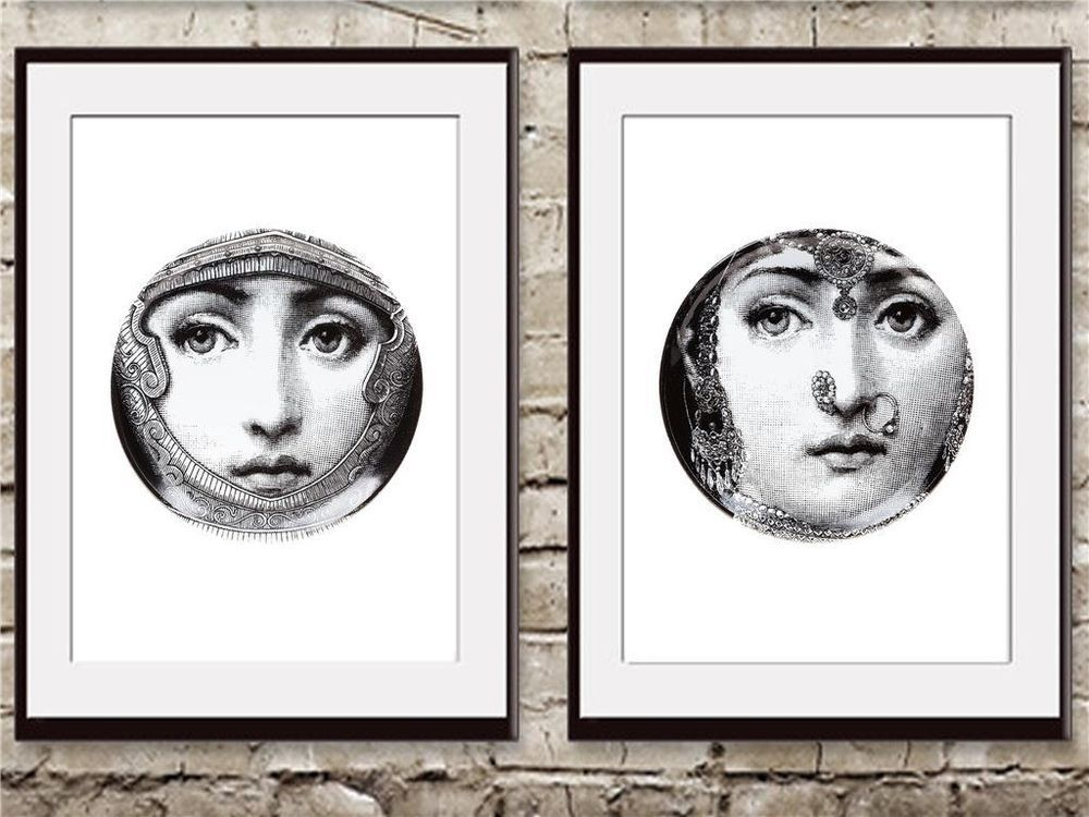 2 Old VINTAGE fornasetti Antique feather french art DECO print wall room decor#2