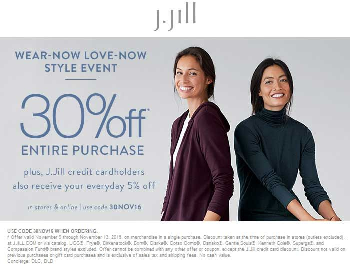 photo relating to Jjill Printable Coupon named Pinned November 9th: 30% off at #JJill or on-line by promo