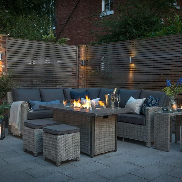 Kettler Palma Corner Right Hand Rattan, Rattan Garden Furniture Set With Fire Pit Table