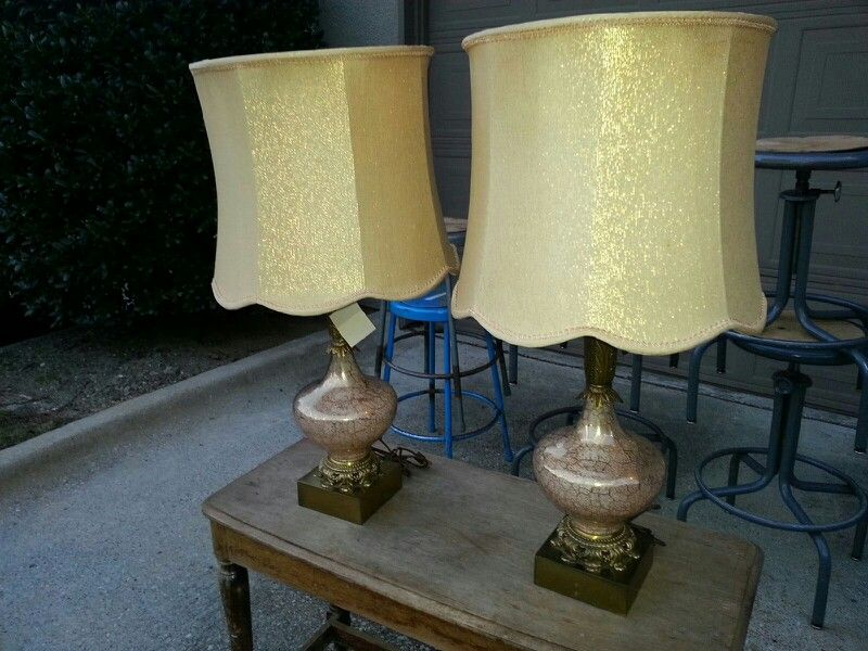 Here we have 2 antique glass mauve lamps with gold thread lamp here we have 2 antique glass mauve lamps with gold thread lamp shades 180 aloadofball Image collections